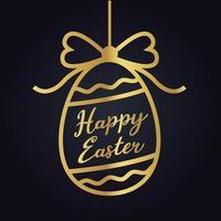 silhueta de ovo de ouro de páscoa feliz vetor