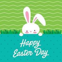 feliz dia da páscoa ilustração de cabeça de coelho vetor