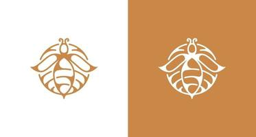 logotipo elegante da silhueta da flor de abelha vetor