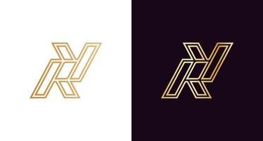 logotipo do monograma letra r, y luxuoso e elegante vetor