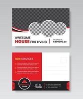 imobiliária casa para venda de design de modelo de cartão postal. vetor