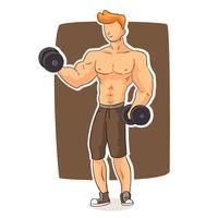 Vetor de fisiculturista masculino
