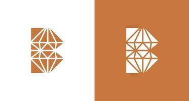 ícone de logotipo de diamante abstrato letra b vetor