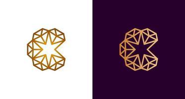 logotipo de diamante abstrato elegante letra c circular vetor