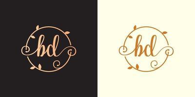 decorativo, luxo letra bd inicial, logotipo elegante do monograma dentro de um talo circular, caule, ninho, raiz com elementos de folhas. logotipo do casamento da carta bd buquê de flores vetor