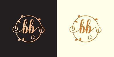 decorativo, luxo letra ba inicial, logotipo elegante do monograma dentro de um talo circular, caule, ninho, raiz com elementos de folhas. carta ba buquê de flores logotipo do casamento vetor