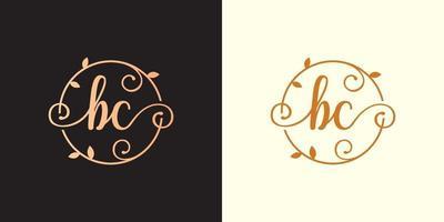 decorativo, luxo letra bc, logotipo do monograma elegante dentro de um talo circular, caule, ninho, raiz com elementos de folhas. logotipo do casamento do buquê de flores da carta bc vetor