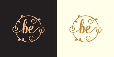a letra decorativa e luxuosa deve ser o logotipo do monograma inicial e elegante dentro de um talo circular, caule, ninho, raiz com elementos de folhas. logotipo do casamento da carta ser buquê de flores vetor