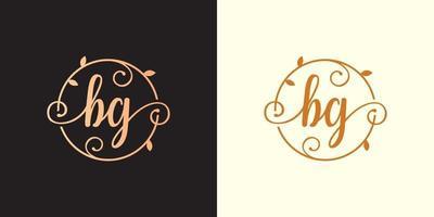 logotipo decorativo, luxuoso da letra bg inicial, elegante do monograma dentro de uma haste circular, haste, ninho, raiz com elementos de folhas. logotipo do casamento do buquê de flores da carta bg vetor