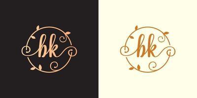 decorativo, luxo letra bk inicial, logotipo elegante do monograma dentro de uma haste circular, caule, ninho, raiz com elementos de folhas logotipo do casamento do buquê de flores da letra bk vetor