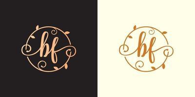decorativo, luxo letra bf inicial, logotipo elegante do monograma dentro de um talo circular, caule, ninho, raiz com elementos de folhas. logotipo do casamento da carta bf buquê de flores vetor