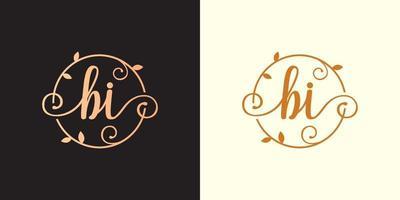 decorativo, luxo letra bi inicial, logotipo elegante do monograma dentro de um talo circular, caule, ninho, raiz com elementos de folhas logotipo do casamento do buquê de flores da carta bi vetor