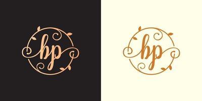 decorativo, luxo letra bp inicial, logotipo elegante do monograma dentro de um talo circular, caule, ninho, raiz com elementos de folhas. logotipo do casamento do buquê de flores da carta bp vetor