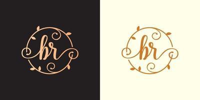 decorativo, luxo letra br inicial, logotipo elegante do monograma dentro de um talo circular, caule, ninho, raiz com elementos de folhas carta br buquê de flores logotipo do casamento vetor