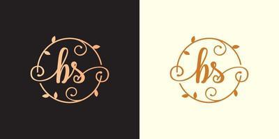 logotipo decorativo, luxuoso da letra bs inicial, elegante do monograma dentro de um talo circular, caule, ninho, raiz com elementos de folhas. logotipo do casamento do buquê de flores da letra bs vetor