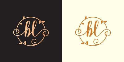 decorativo, luxo letra bl inicial, logotipo elegante do monograma dentro de um talo circular, caule, ninho, raiz com elementos de folhas. letra bl buquê de flores logotipo do casamento vetor