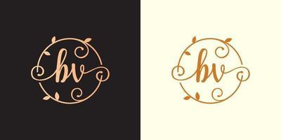 decorativo, luxo, letra bv inicial, logotipo elegante do monograma dentro de um talo circular, caule, ninho, raiz com elementos de folhas. logotipo do casamento da carta bv buquê de flores vetor
