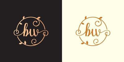 decorativo, luxo letra bw inicial, logotipo elegante do monograma dentro de um talo circular, caule, ninho, raiz com elementos de folhas. carta bw buquê de flores logotipo do casamento vetor