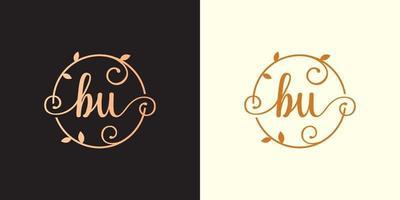 decorativo, luxo carta bu logotipo de monograma elegante inicial dentro de um talo circular, caule, ninho, raiz com elementos de folhas. carta bu buquê de flores logotipo do casamento vetor
