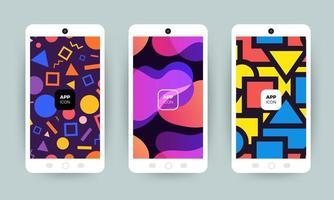 conjunto de designs de fundo abstrato colorido em telefones celulares vetor