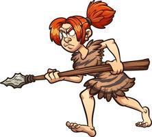 mulher caçadora das cavernas vetor