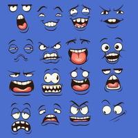 rostos malucos de desenhos animados vetor