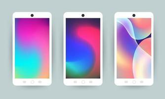 telefones celulares com papéis de parede holográficos vetor
