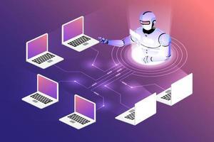 inteligência artificial isométrica vetor