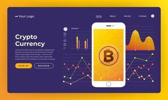 site de mock-up para blockchain e criptomoeda. ilustração vetorial vetor