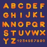 Fonte do alfabeto bolha 3D definida em cores gradientes vetor