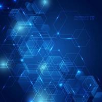 padrão de hexágono abstrato com luz laser na inovação de conceito de comunicação futurista de tecnologia de fundo azul escuro. vetor