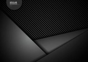 modelo triângulos geométricos pretos sobrepondo fundo e textura de fibra de carbono kevlar. vetor