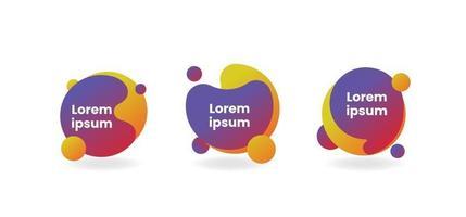 conjunto de modelos de elementos gráficos abstratos modernos para banner ou citações, formas dinâmicas líquidas com gradiente, ilustração vetorial vetor