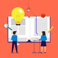 livros contêm conhecimento e grandes ideias, estilo de ilustração plana vetor
