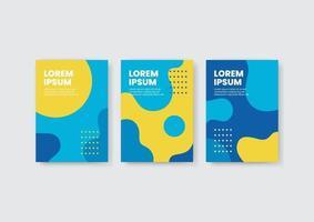 conjunto de design de capa de cartaz com texto, modelos de capa de formas líquidas abstratas, ilustração vetorial a4 vetor