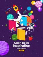 inspiração de livro, aprendizagem online, estudo de casa, volta às aulas, vetor de design plano.