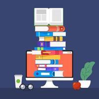 educação e aprendizagem com livros, estilo de ilustração plana vetor