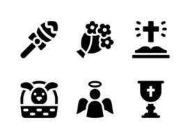 conjunto simples de ícones sólidos de vetor relacionados à Páscoa. contém ícones como buquê, bíblia aberta, cálice, anjo e muito mais