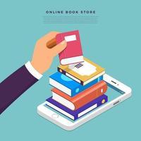 escolher um livro na tela do computador. loja de livros online vetor