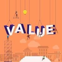 equipe trabalhando duro construindo a palavra valor vetor