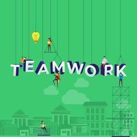 equipe trabalhando duro construindo a palavra trabalho em equipe vetor