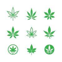 conjunto de ilustração de imagens do logotipo da cannabis vetor