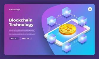 ilustração de tecnologia blockchain vetor
