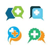 conjunto de imagens de logotipo de consulta médica vetor