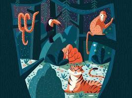 ilustração colorida da cena da selva com animais exóticos. floresta à noite com tigre, macaco, cobra e tucano. natureza e árvores. vetor. vetor