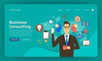 maquete de site para serviços de consultoria de negócios vetor