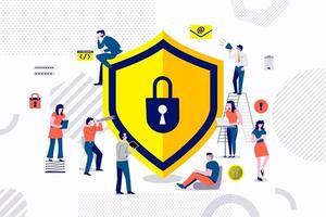 trabalho em equipe construindo tecnologia de segurança vetor