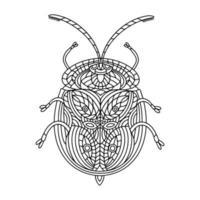 livro para colorir de tartaruga dourada besouro. ilustração em vetor linear tortuga besouro. livro de colorir anti-stress para adultos e crianças. um livro de colorir desenhado à mão para rabiscos.