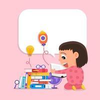 crianças felizes, gostando de ler e aprender com os livros vetor