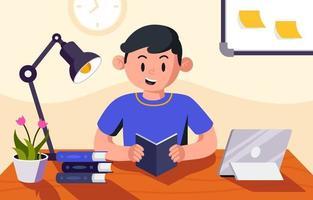 estudante estudando em casa vetor